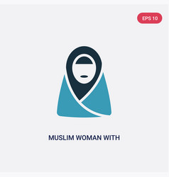 Two color muslim woman with hijab icon from other vector