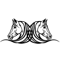 two heads horses tattoo vector image
