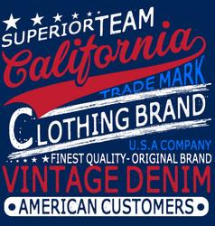 typography vintage denim brand logo print vector image