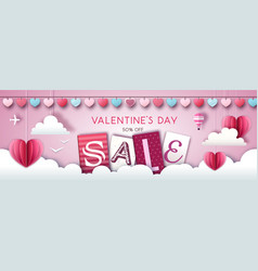 Valentines day sale background with love heart vector