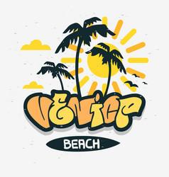 Venice beach los angeles california palm tree vector