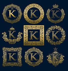 Vintage monograms set of k letter vector