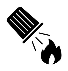 Water bucket extinguishing a fire solid icon fire vector