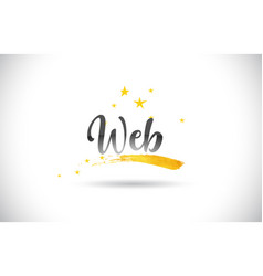 Web word text with golden stars trail and vector