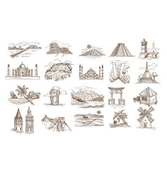 world sights and famous landmarks isolated vector image