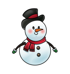 christmas snowman with hat and scarf character vector image vector image