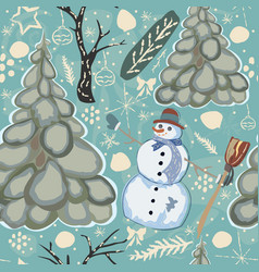 colorful seamless winter pattern with cute vector image