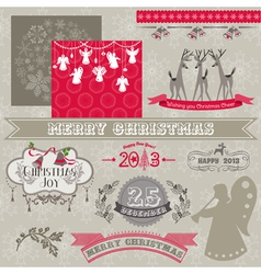 Design elements - vintage merry christmas vector