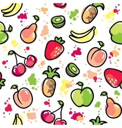 hand drawn fruits pattern vector image