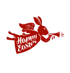 happy easter lettering rabbit bunny symbol vector image