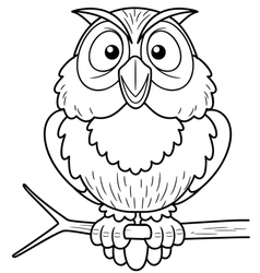 Owl outline vector image vector image