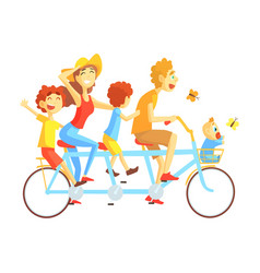 parents and kids on triple seat bicycle riding vector image
