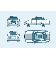 Police car top front side back view line style vector