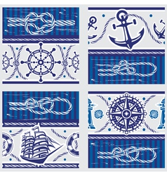 Seampless patterns with Nautical symbols and vector image vector image