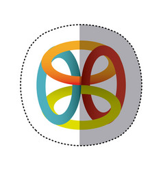 Sticker shading colorful rings in cube shape vector