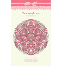 Vintage pink ornament background vector image