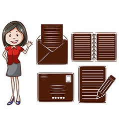 An office girl vector image