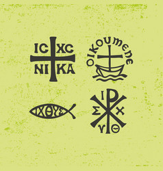 ancient christian symbols and vintage elements vector image