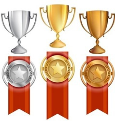 Set TrophiesAwardsRibbons vector image vector image