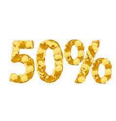 50 percent price cut off golden discount coins vector image