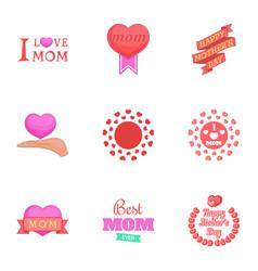 i love mom icons set cartoon style vector image vector image