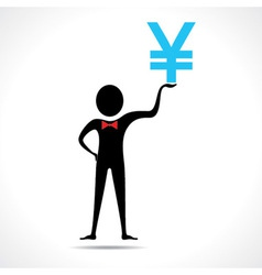 Man holding yen symbol vector image vector image