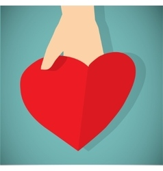 Red paper heart in hand flat icon vector image vector image