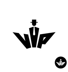 Vip letters black logo Silhouette of a gentleman vector image