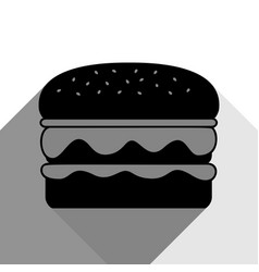 burger simple sign black icon with two vector image vector image