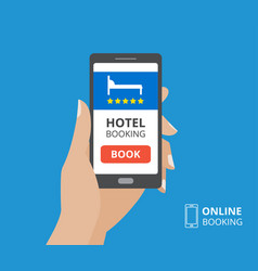 design concept of hotel booking online hand vector image vector image
