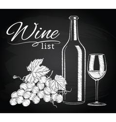 glass bottle wine grapes on chalkboard vector image
