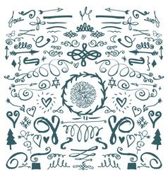 hand drawn decorative doodles vector image vector image