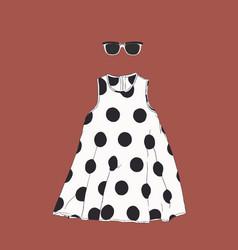 polka dot dress with sun glasses sketch vector image vector image
