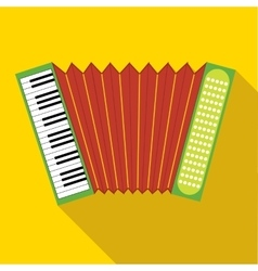 Red accordion icon in flat style vector
