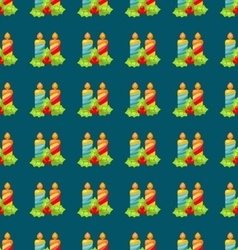 Seamless Christmas pattern holly barry and candle vector image vector image