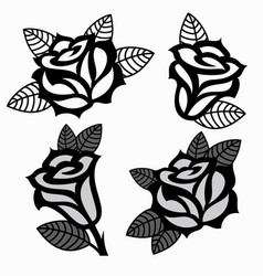 set of black and white images of roses vector image vector image