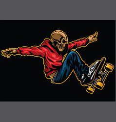 skull riding skateboard vector image vector image