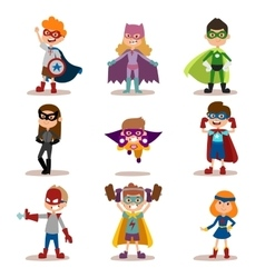 Superhero kids boys and girls cartoon vector image vector image