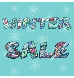 Winter sale words with hand drawn elements vector image vector image