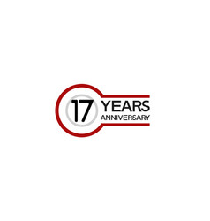 17 years anniversary with circle outline red vector