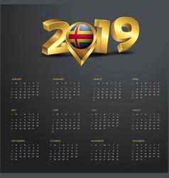 2019 calendar template aland country map golden vector