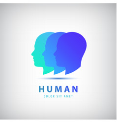 3 human heads faces logo vector
