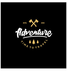 adventure lettering logos with gold vector image