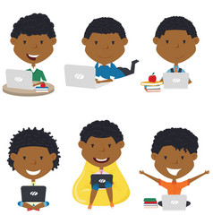 African american boys learn and do homework by vector