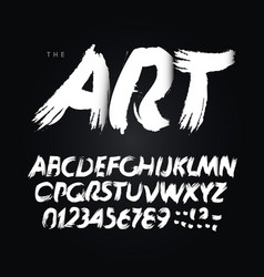 art brush letters and numbers set hand drawn vector image