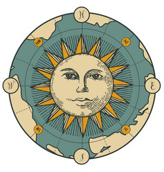 Banner with sign moon sun and old map vector