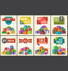 Best prices set of promo posters advert stickers vector