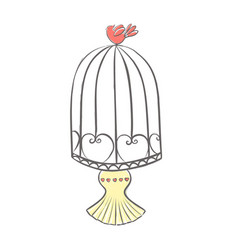bird cage pink canary bird vector image