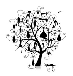 black cats on tree branches silhouette for your vector image