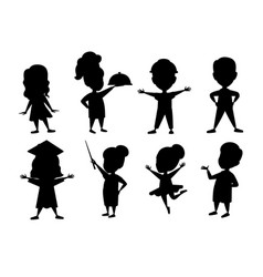 black silhouette set boys and girls kid wearing vector image